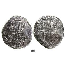 Potosi, Bolivia, cob 8 reales, assayer not visible, (O, 1649-50), crowned-F countermark on shield.