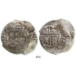 Potosi, Bolivia, cob 8 reales, (1650-1)O, with crowned-O countermark on shield.