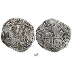 Potosi, Bolivia, cob 8 reales, 1651E/O, with crowned-O countermark on cross.