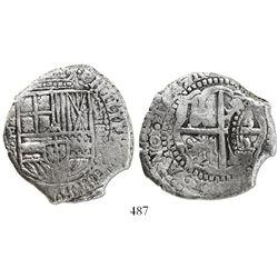 Potosi, Bolivia, cob 8 reales, 1651E, with arms countermark on cross.