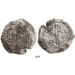 Potosi, Bolivia, cob 8 reales, 1651E, with crowned-T countermark on shield.