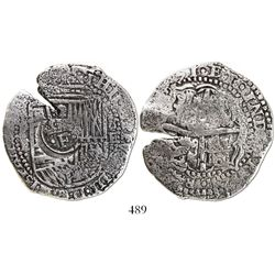 Potosi, Bolivia, cob 8 reales, (16)51E, with crowned-dot-F-dot countermark on shield.