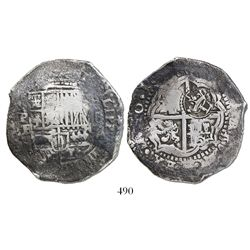 Potosi, Bolivia, cob 8 reales, 16(51-2)E, with crowned-L countermark on cross.
