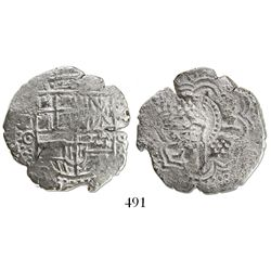 Potosi, Bolivia, cob 4 reales, (1651)O, with crowned-S countermark on cross, rare.