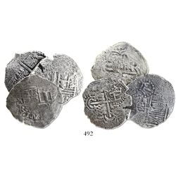 Lot of 3 Potosi, Bolivia, cob 4 reales, assayers not visible (1649-52), with various countermarks.