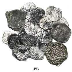 Lot of 19 Potosi, Bolivia, cob 2R and 1R, Philip III and IV.