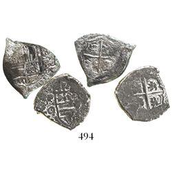 Lot of 2 Potosi, Bolivia, cob 1R, Philip IV, assayers O (1649-51) and E (1651-2).