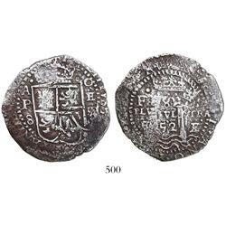 Potosi, Bolivia, cob 8 reales, 1652E Transitional Type V.