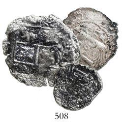 Lot of 3 Potosi, Bolivia, cobs (4R, 2R and 1R), (1652)E transitionals.