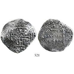 Potosi, Bolivia, cob 8 reales, 1654E, dot-PH-dot at top.
