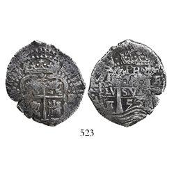 Potosi, Bolivia, cob 4 reales, 1653E, dot-PH-dot at top, rotated-4 denomination.