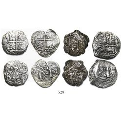 Lot of 4 Potosi, Bolivia, cob 4 reales, 1653E (2) and 1654E (2).