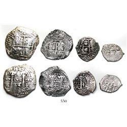 Four-coin denomination set of Potosi, Bolivia, cob 8R, 4R, 2R and 1R, 1654E, dot-PH-dot at top.