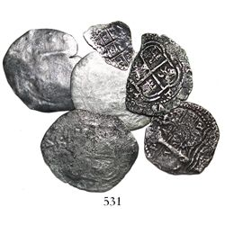Lot of 7 Potosi, Bolivia, cobs (three 8R, two 4R and two 1R), pillars-and-waves, various dates (1652