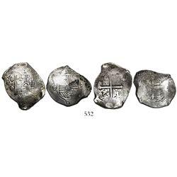 Lot of 2 Mexico City, Mexico, cob 8 reales, Philip IV, assayer P.