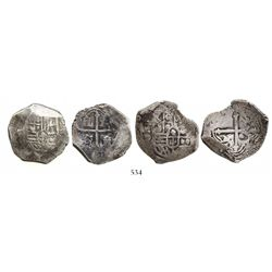 Lot of 2 Mexico City, Mexico, cob 4 reales, Philip IV, assayer P (visible on one).
