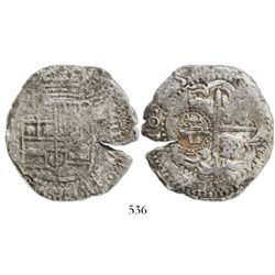 Potosi, Bolivia, cob 8 reales, (16)50(O), with crowned-L countermark on cross.