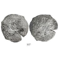Potosi, Bolivia, cob 8 reales, (16)50O, with crown-alone countermark on shield.