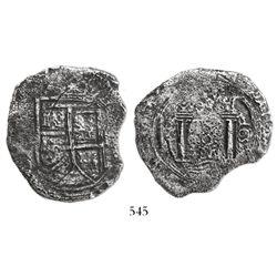 Bogota, Colombia, cob 8 reales, 1652(PoRAS or PoRMS), rare, ex-Haskins.