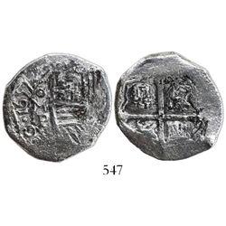Mexico City, Mexico, cob 4 reales, 1657P, rare.