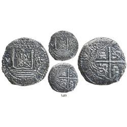 """Lima, Peru, cob 4 reales, """"Star of Lima"""" type, 1659V, very rare."""