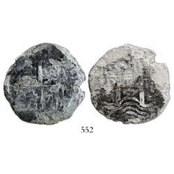 Potosi, Bolivia, cob 8 reales, 1657E, pomegranate above cross.