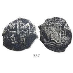 Potosi, Bolivia, cob 4 reales, 1667E (king uncertain).