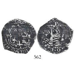 Potosi, Bolivia, cob 2 reales, 1653E, PH at top.