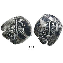 Potosi, Bolivia, cob 2 reales, 1667E, king uncertain.