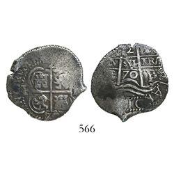 Potosi, Bolivia, cob 2 reales, 1670/69E.