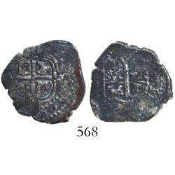 Potosi, Bolivia, cob 1 real, 1656E, rare denomination for this provenance.