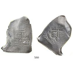 Mexico City, Mexico, cob 8 reales, Charles II, assayer not visible, interesting shape, encapsulated