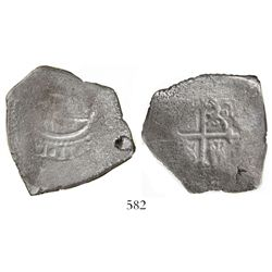 """Mexico City, Mexico, cob 8 reales, Charles II, assayer not visible, encapsulated SANGS """"authentic"""" w"""