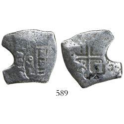 Mexico City, Mexico, cob 4 reales, 1681L, rare.