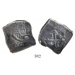 "Mexico City, Mexico, cob 4 reales, Charles II, assayer not visible, encapsulated SANGS ""authentic"" w"