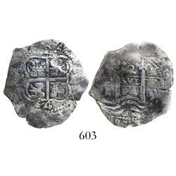 Potosi, Bolivia, cob 2 reales, 1664E, desirable provenance.