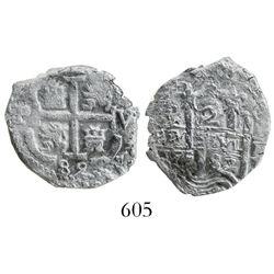 Potosi, Bolivia, cob 2 reales, 1682V, desirable provenance.
