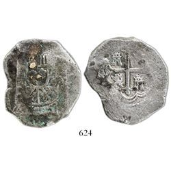 Mexico City, Mexico, cob 8 reales, Philip V, assayer not visible, shell-encrusted.