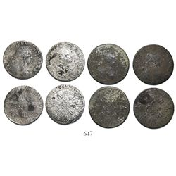 Lot of 4 French ecus, Louis XV, dated 1724-5 (where visible), various mints.