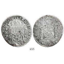 Mexico City, Mexico, pillar 8 reales, Philip V, 1733F, mintmark M.X, very rare.