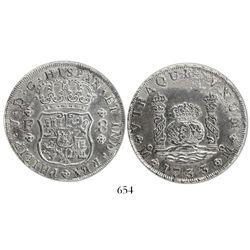 Mexico City, Mexico, pillar 8 reales, Philip V, 1733F, rare.