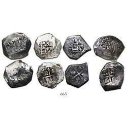 Lot of 4 Mexico City, Mexico, cob 4 reales, Philip V, assayer R (1729-30), where visible.