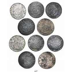 Lot of 5 Mexico City, Mexico, pillar 4 reales, Philip V, various dates: 1735MF, 1736MF, and 1740/39M