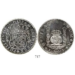 Mexico City, Mexico, pillar 8 reales, Philip V, 1743MF.