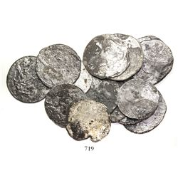 """Lot of 14 Dutch silver coins (12 """"rider"""" ducatoons and 2 portrait 1/2 ducatoons), 1600s, very rare f"""