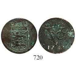 Dutch East India Co. (VOC), copper duit, West Friesland province, 1737, very rare as the ONLY copper
