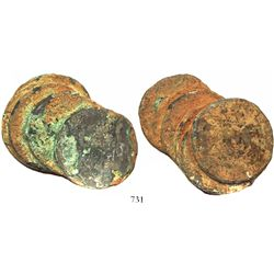 Clump of 5 Spanish colonial bust 8 reales, Charles III, encrusted.