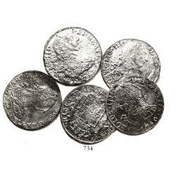 Lot of 5 Mexico City, Mexico, bust 8 reales, Charles III, various dates (where visible).