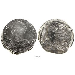Clump of 3 Spanish colonial bust 8 reales, Charles III, date 1785 visible on top coin.
