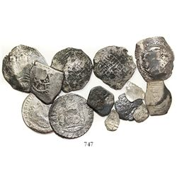 "Lot of 13 silver coins from various shipwrecks, including: ""Lucayan Beach wreck"" (ca. 1628); unident"